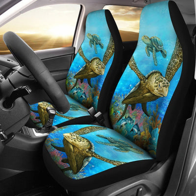 Brown Sea Turtle Print Universal Fit Car Seat Covers