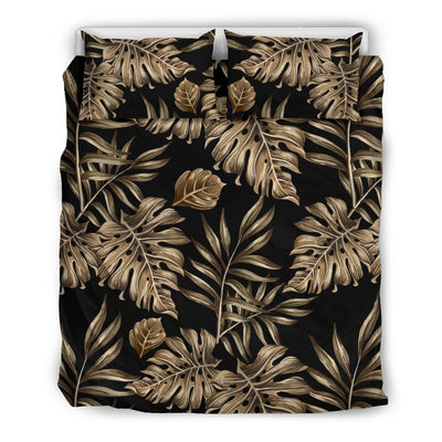 Brown Tropical Palm Leaves Duvet Cover Bedding Set