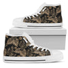 Brown Tropical Palm Leaves Men High Top Canvas Shoes