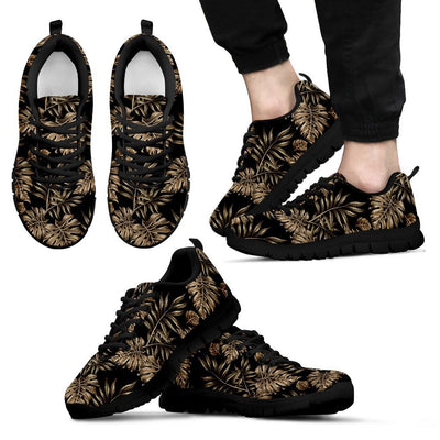 Brown Tropical Palm Leaves Men Sneakers