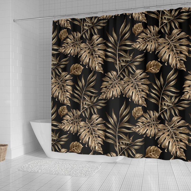 Brown Tropical Palm Leaves Shower Curtain