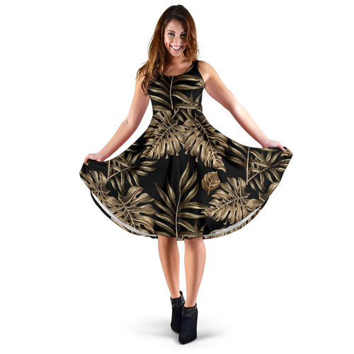 Brown Tropical Palm Leaves Sleeveless Mini Dress