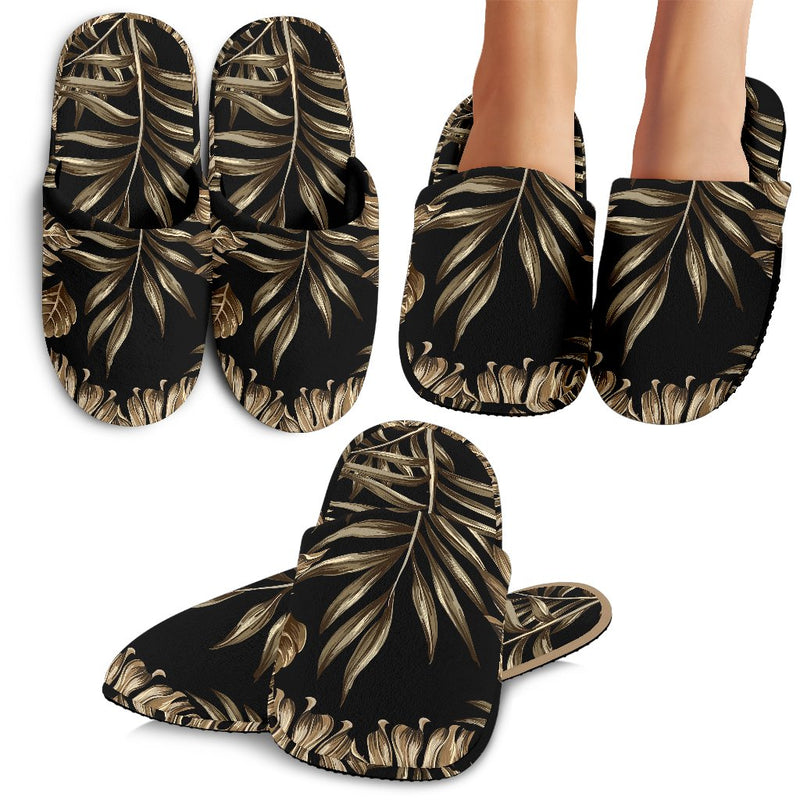 Brown Tropical Palm Leaves Slippers