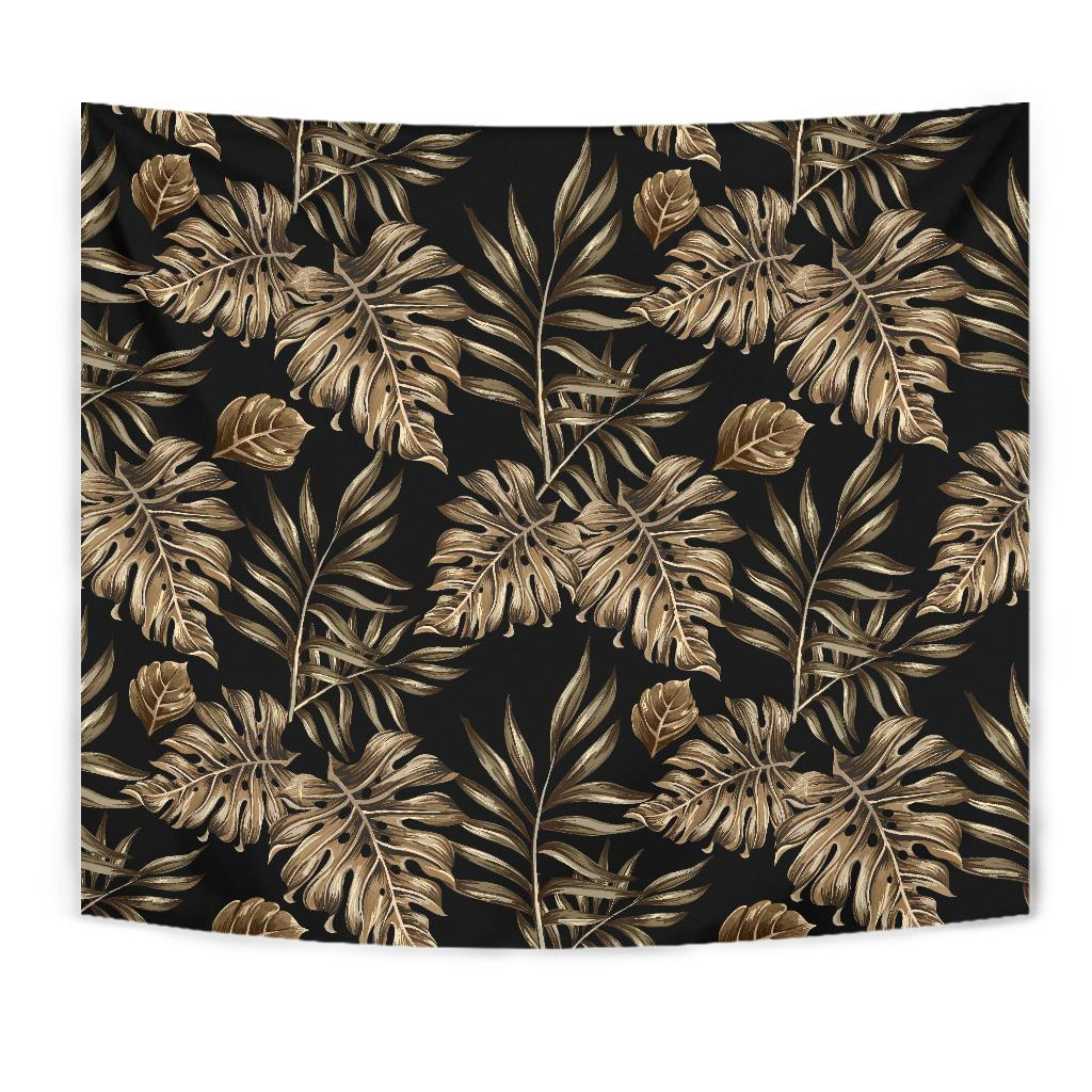 Brown Tropical Palm Leaves Tapestry