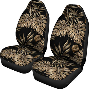Brown Tropical Palm Leaves Universal Fit Car Seat Covers