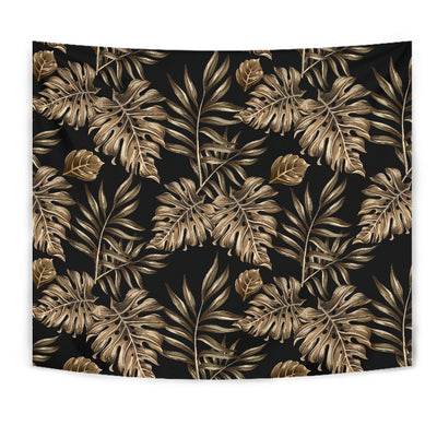 Brown Tropical Palm Leaves Wall Tapestry