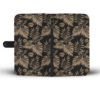 Brown Tropical Palm Leaves Wallet Phone Case
