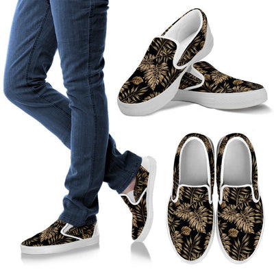 Brown Tropical Palm Leaves Women Canvas Slip On Shoes