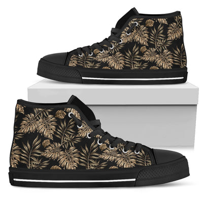Brown Tropical Palm Leaves Women High Top Canvas Shoes
