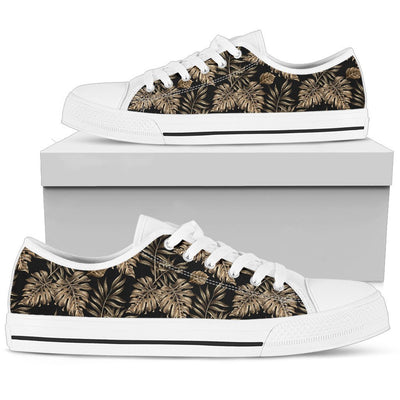 Brown Tropical Palm Leaves Women Low Top Canvas Shoes