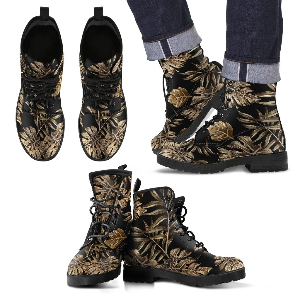 Brown Tropical Palm Leaves Women & Men Leather Boots