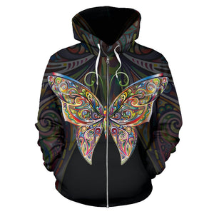 Butterfly Art All Over Zip Up Hoodie