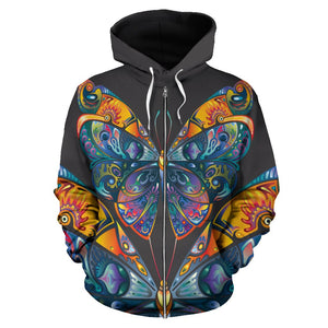 Butterfly Art Colorful All Over Zip Up Hoodie