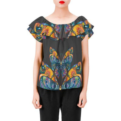 Butterfly Art Colorful Off Shoulder Ruffle Blouse