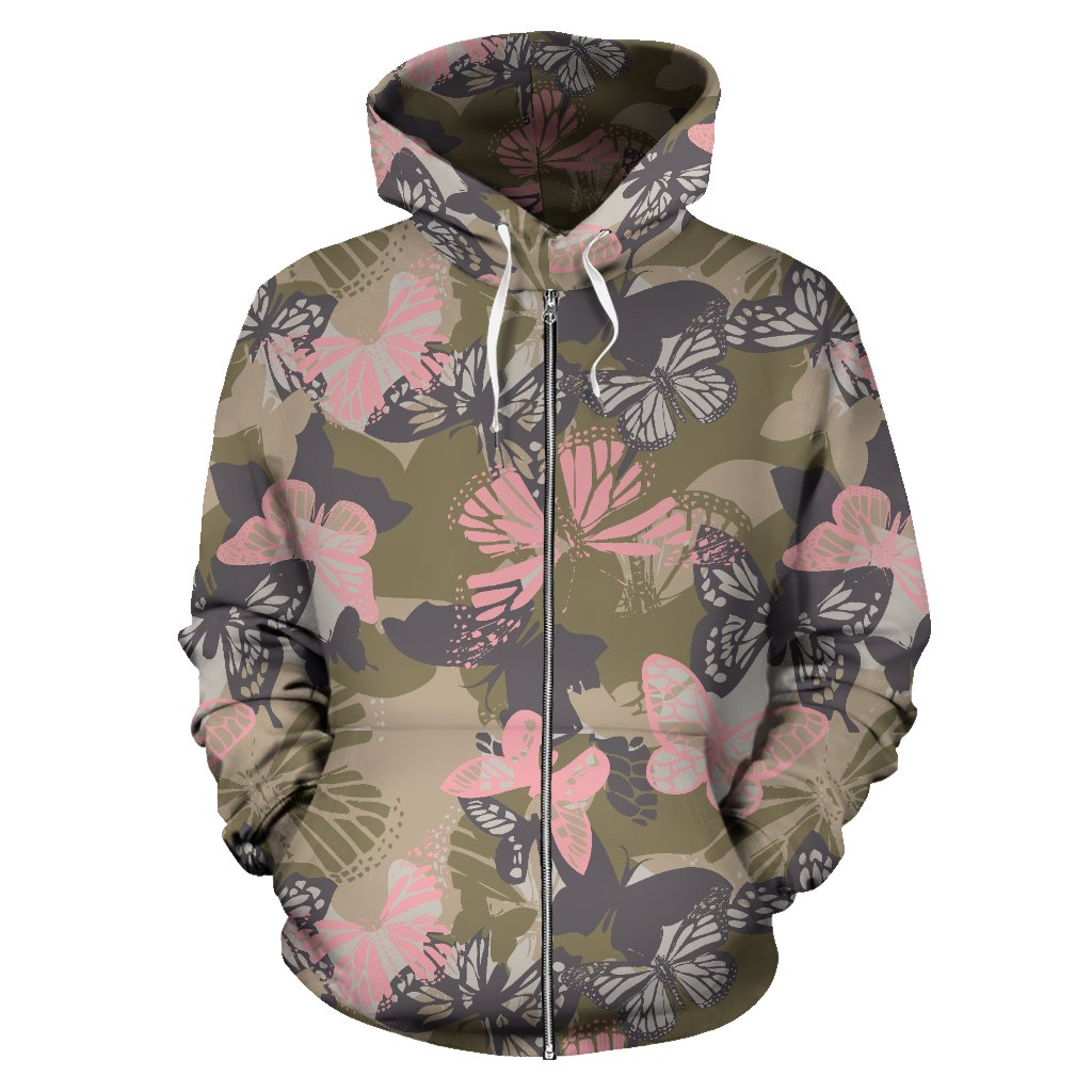 Butterfly camouflage All Over Zip Up Hoodie