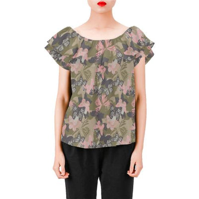 Butterfly camouflage Off Shoulder Ruffle Blouse