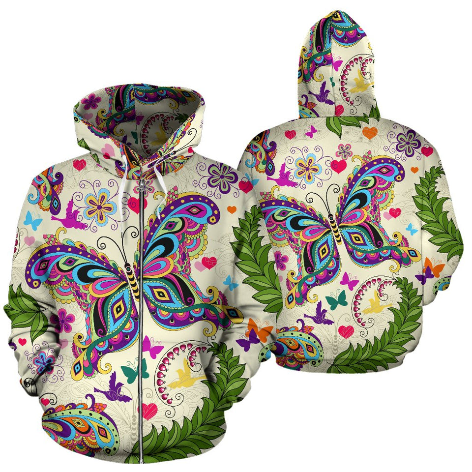 Butterfly Colorful Indian Style All Over Zip Up Hoodie – JorJune 4f9241c20