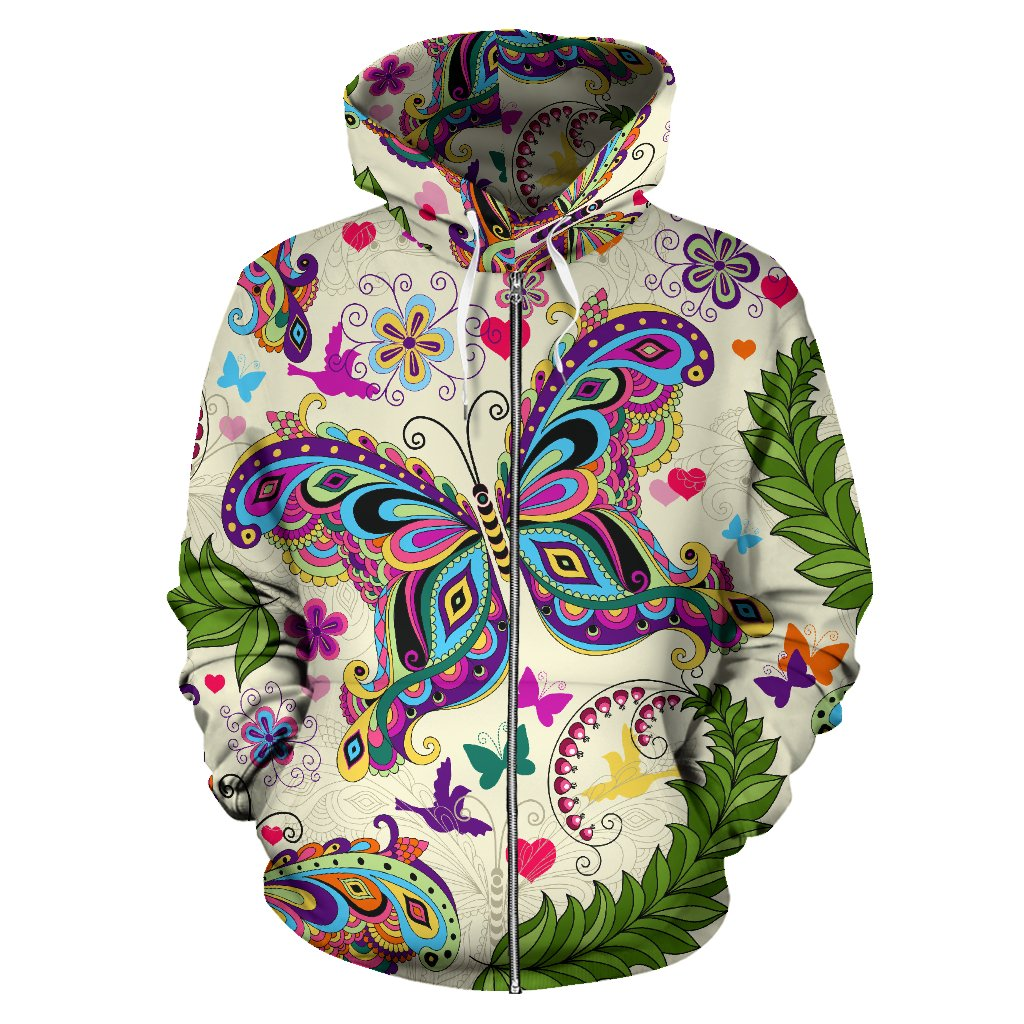 Butterfly Colorful Indian Style All Over Zip Up Hoodie