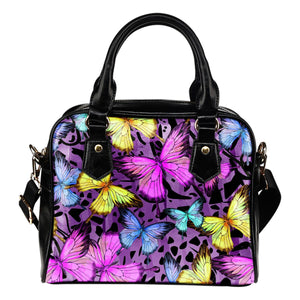 Butterfly Colorful Leather Shoulder Handbag