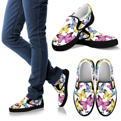 Butterfly Colorful Men Canvas Slip On Shoes