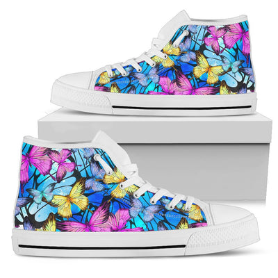 Butterfly Colorful Men High Top Canvas Shoes