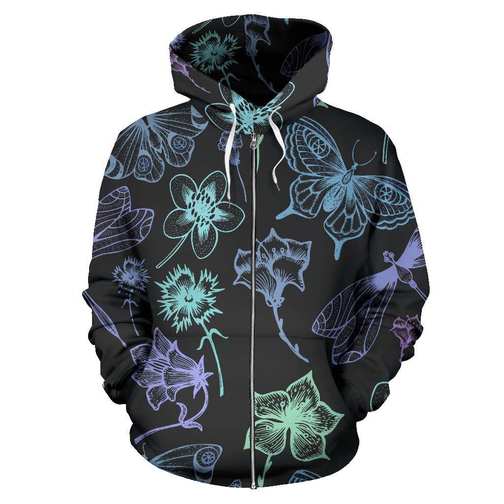 Butterfly Dragonfly All Over Zip Up Hoodie