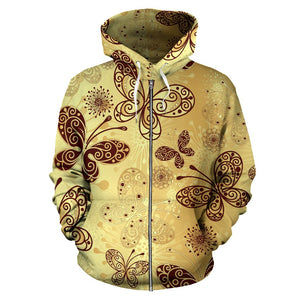 Butterfly Mandala All Over Zip Up Hoodie
