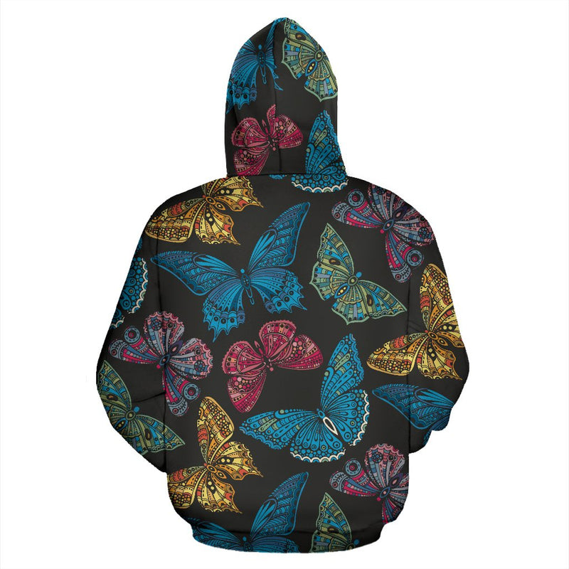 Butterfly Mandala Style All Over Zip Up Hoodie