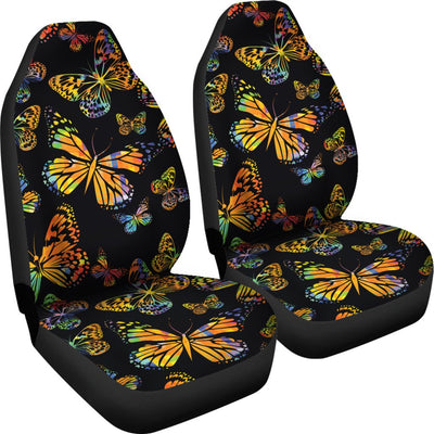 Butterfly Neon Color Print Pattern Universal Fit Car Seat Covers