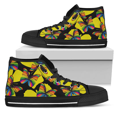Butterfly Rainbow Men High Top Canvas Shoes