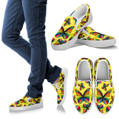 Butterfly Rainbow Women Canvas Slip On Shoes