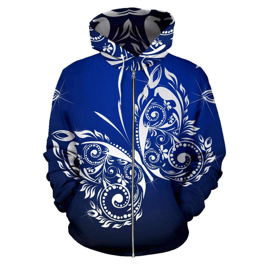 Butterfly Tribal All Over Zip Up Hoodie