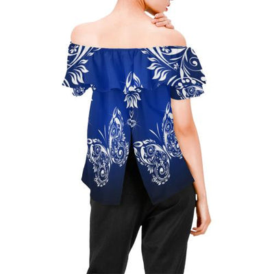 Butterfly Tribal Off Shoulder Ruffle Blouse