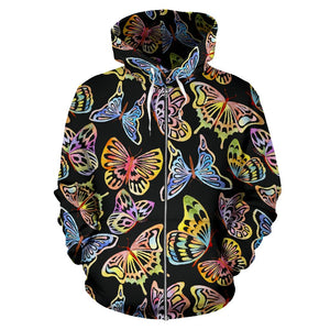 Butterfly Water Color Rainbow All Over Zip Up Hoodie
