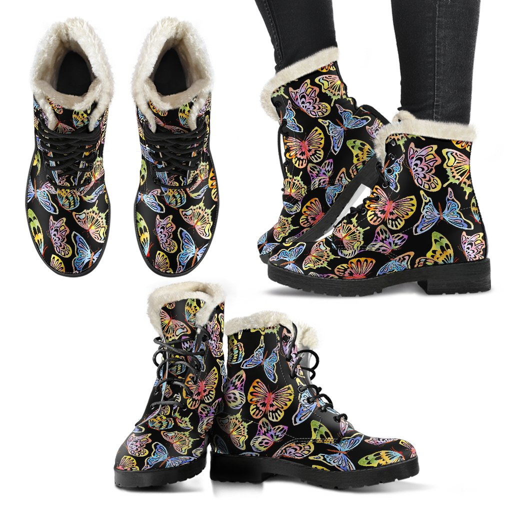 Butterfly Water Color Rainbow Faux Fur Leather Boots
