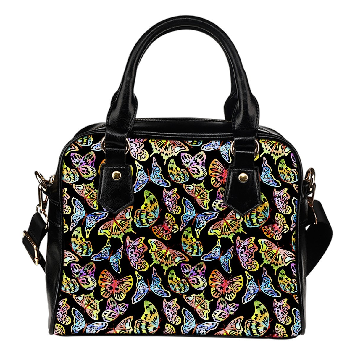 Butterfly Water Color Rainbow Leather Shoulder Handbag