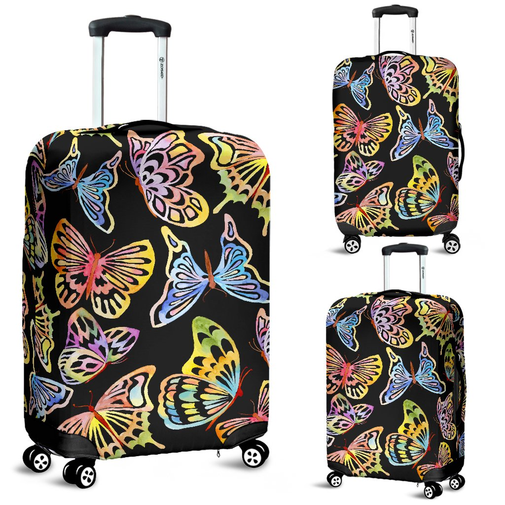 Butterfly Water Color Rainbow Luggage Cover Protector