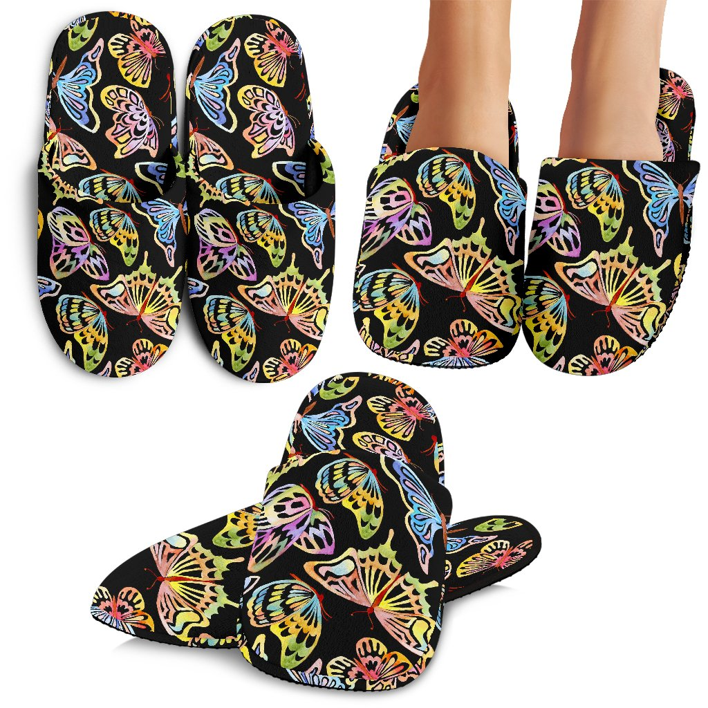 Butterfly Water Color Rainbow Slippers