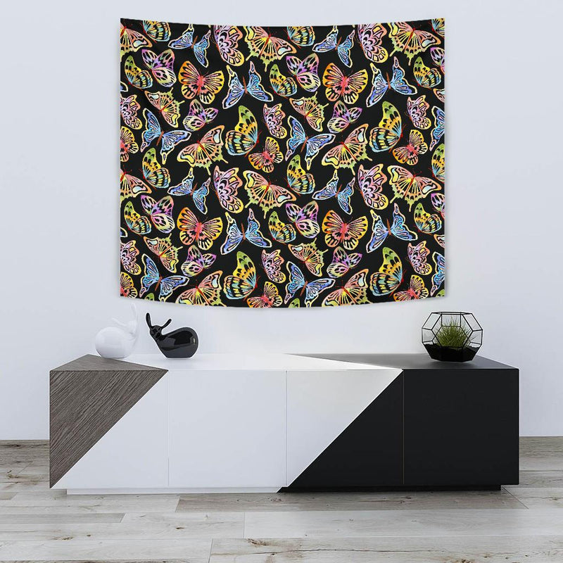 Butterfly Water Color Rainbow Tapestry