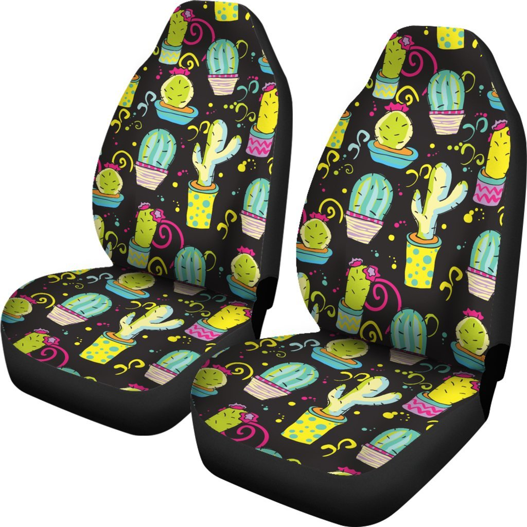 Fabulous Cactus Neon Style Print Pattern Universal Fit Car Seat Covers Gmtry Best Dining Table And Chair Ideas Images Gmtryco