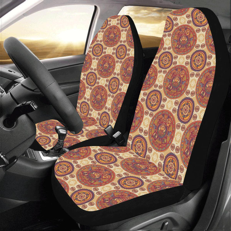 Calendar Aztec Pattern Print Design 01 Car Seat Covers (Set of 2)-JORJUNE.COM