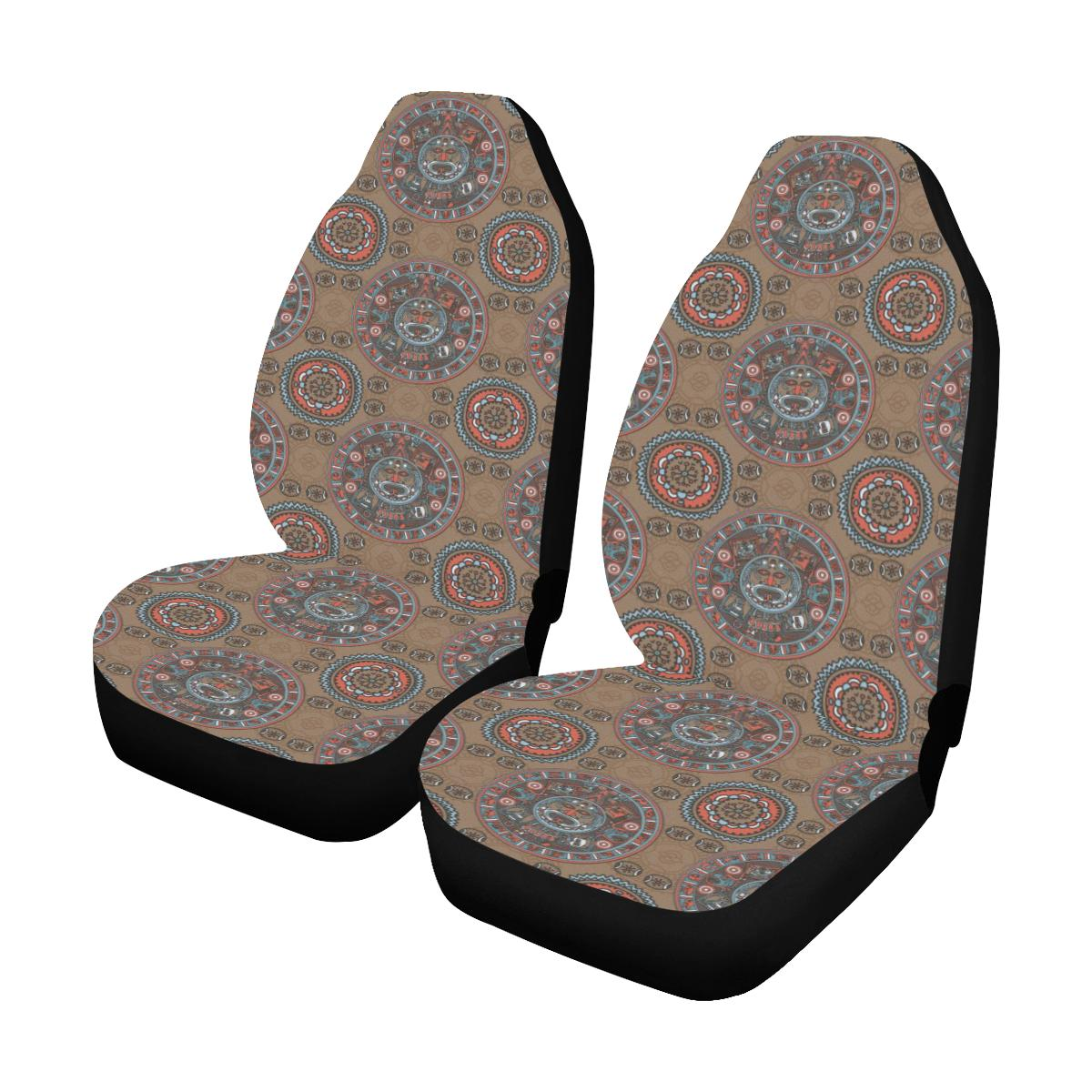Calendar Aztec Pattern Print Design 03 Car Seat Covers (Set of 2)-JORJUNE.COM
