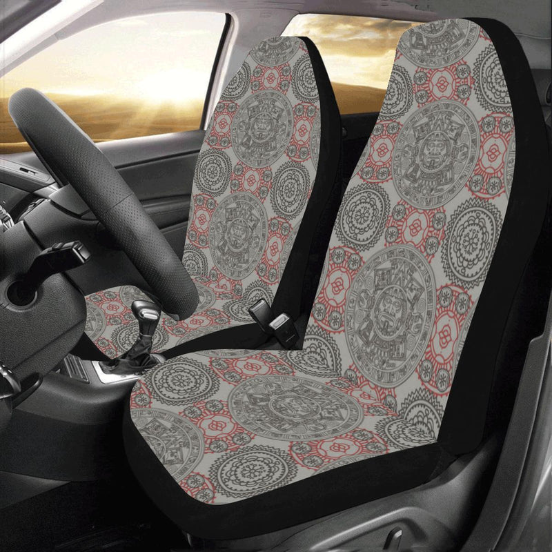 Calendar Aztec Pattern Print Design 04 Car Seat Covers (Set of 2)-JORJUNE.COM