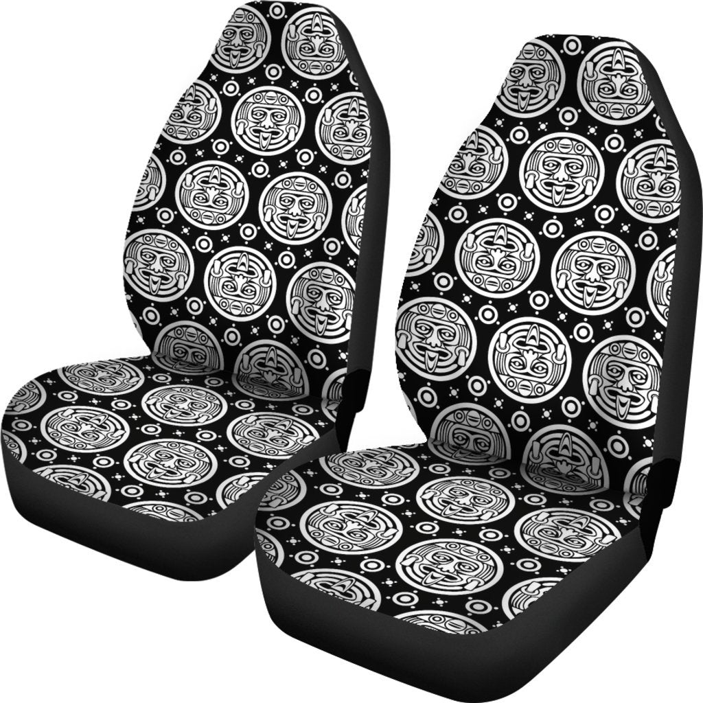 Calendar Aztec White Black Print Pattern Universal Fit Car Seat Covers