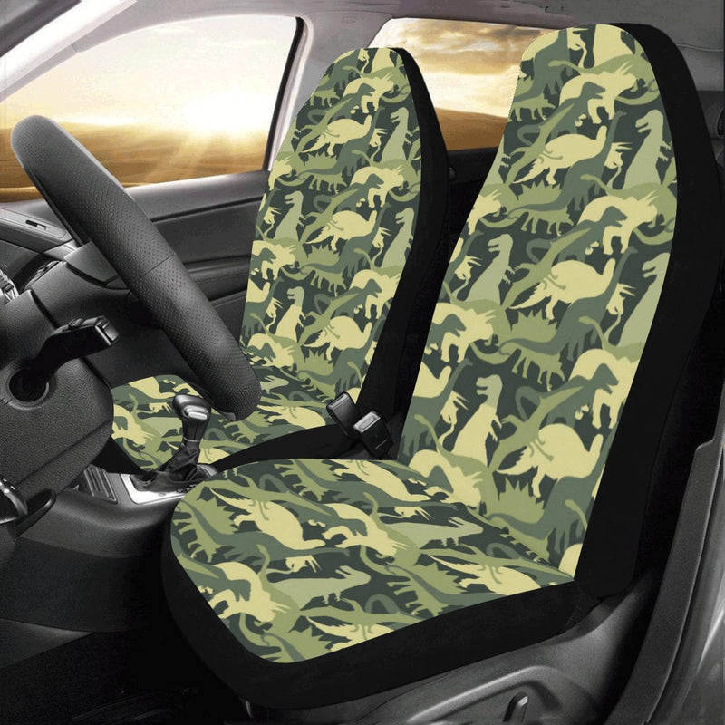 Camouflage Dinosaur Pattern Print Design 03 Car Seat Covers (Set of 2)-JORJUNE.COM