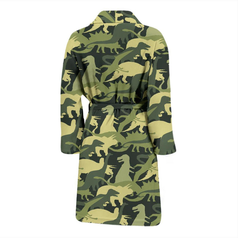 Camouflage Dinosaur Pattern Print Design 03 Men Bathrobe-JORJUNE.COM