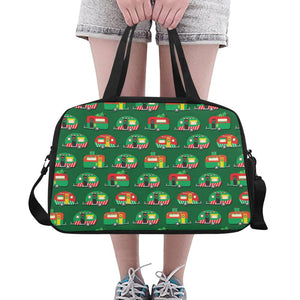 Camper Camping Christmas Themed Print Crossbody Travel Bag