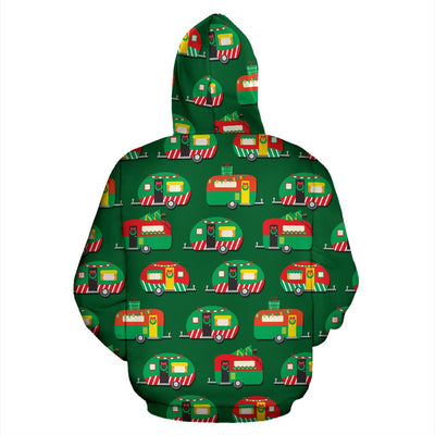 Camper Camping Christmas Themed Print Pullover Hoodie