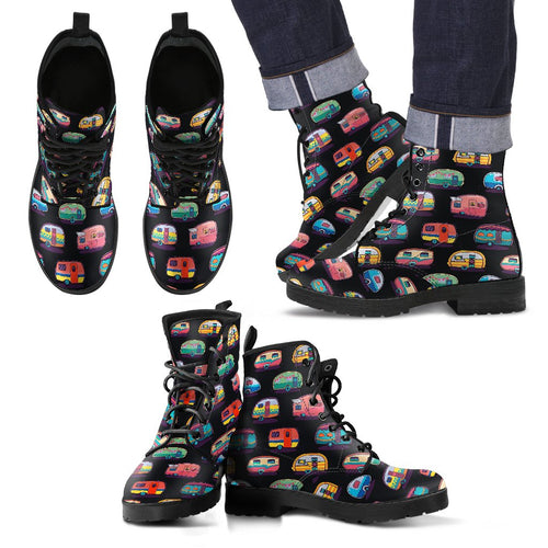 Camper Camping Pattern Men Leather Boots