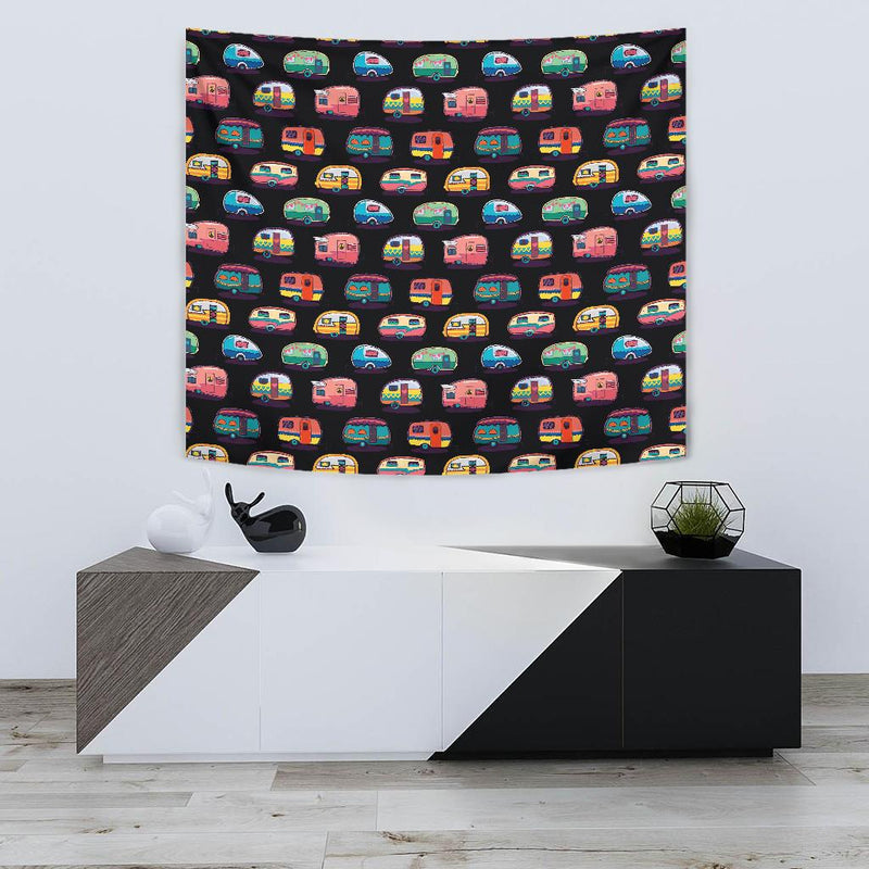 Camper Camping Pattern Tapestry